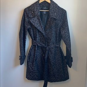 London fog leopard print rain coat